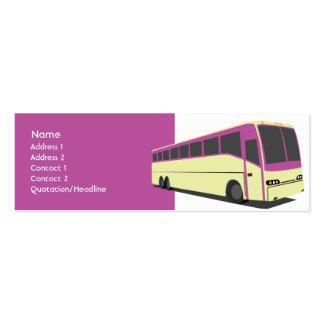 Ônibus roxo - magro modelo cartoes de visitas