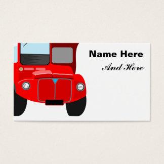 Ônibus vermelho cartão de visitas