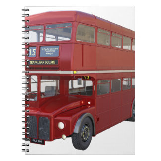 Ônibus vermelho do autocarro de dois andares no cadernos espiral