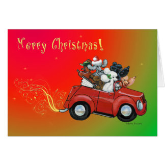 Oodles de cartões de carro retros do Natal das