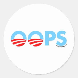 Oops erro de Obama Adesivos Em Formato Redondos