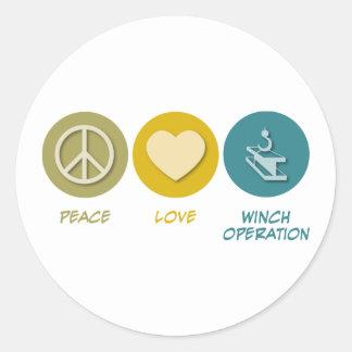 Operação do guincho do amor da paz adesivos em formato redondos