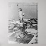 Opinião aérea 1920 da estátua da liberdade impressão