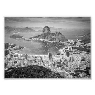Opinião aérea de B&W Rio de Janeiro Impressão De Foto