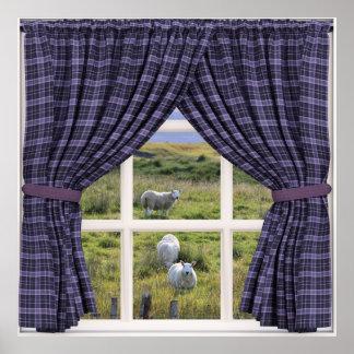 Opinião da janela com carneiros e cenário calmo pôster