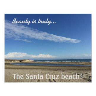 Opinião da praia no passeio à beira mar de Santa Pôster