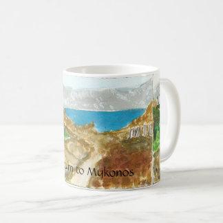 Opinião de Mykonos de Delos perto da caneca