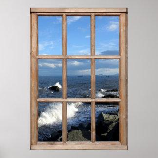 Opinião do mar de uma janela com ondas de quebra pôster