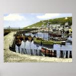 Opinião do porto do vintage, Mousehole Cornualha Impressão