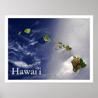 Opinião do satélite das ilhas havaianas pôster