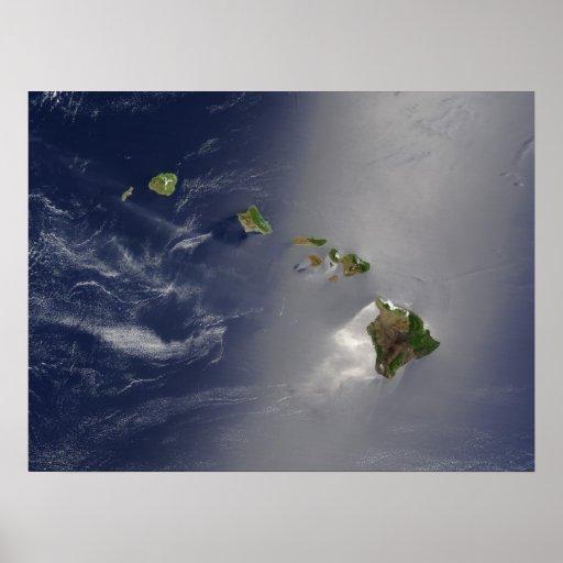 Opinião do satélite das ilhas havaianas pôsteres