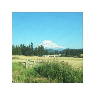 Opinião do vale do Monte Rainier. Lona envolvida Impressão Em Tela