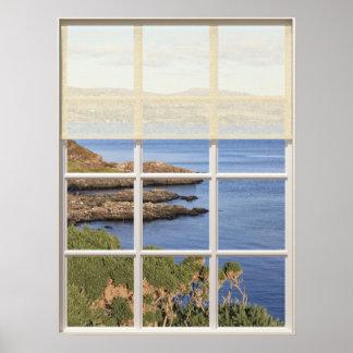Opinião escocesa da ilha da janela poster