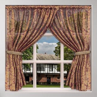 Opinião falsificada da janela de casas de campo pôster