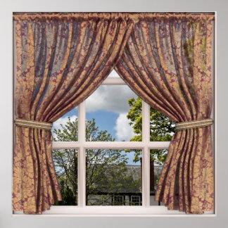 Opinião inglesa da janela do falso da casa de pôster