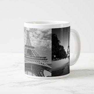 Opiniões da torre Eiffel na caneca enorme preto e