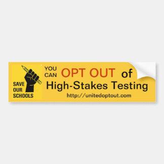 OPT fora do teste alto risco Adesivo Para Carro