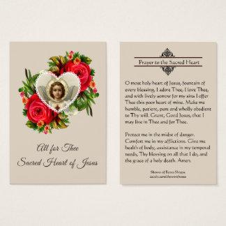 Oração ao coração sagrado do cartão santamente de