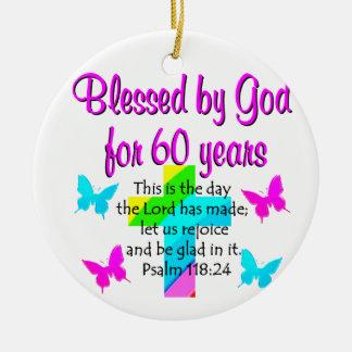ORAÇÃO CRISTÃ das pessoas de 60 anos Ornamento De Cerâmica Redondo