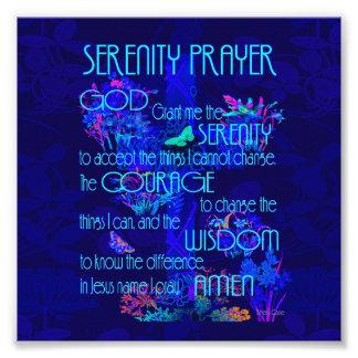 Oração da serenidade no azul impressão de foto