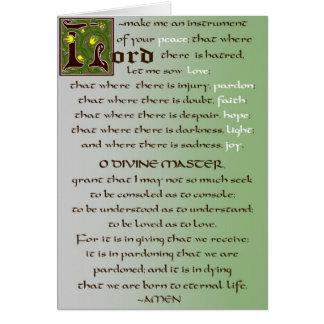 Oração do cartão do católico de St Francis