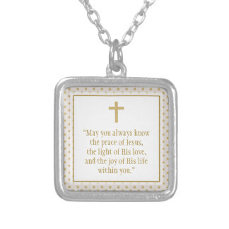 Oração do comunhão colar com pendente quadrado