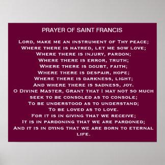 Oração do poster de Francis de santo