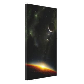 Órbita de um planeta estrangeiro impressão de canvas envolvida