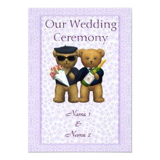 Ordem alegre do casamento de casal dos ursos de convite 12.7 x 17.78cm