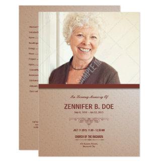 Ordem de cartão de programa fúnebre do serviço