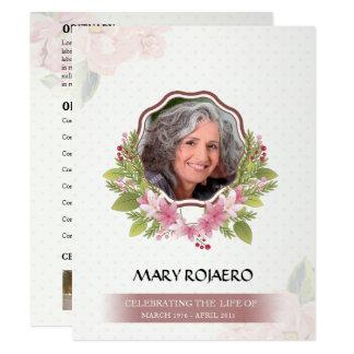 Ordem memorável de cartão do funeral do serviço convite 10.79 x 13.97cm