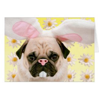 Orelhas do coelho do Pug Cartão Comemorativo