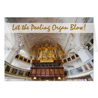 Órgão de tubulação em Stadtkirche, cartão de Natal