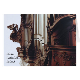 órgão de tubulação no cartão da catedral de Oliwa