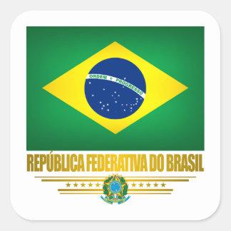 """""""Orgulho brasileiro """" Adesivo Quadrado"""