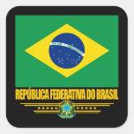 Orgulho brasileiro adesivo quadrado