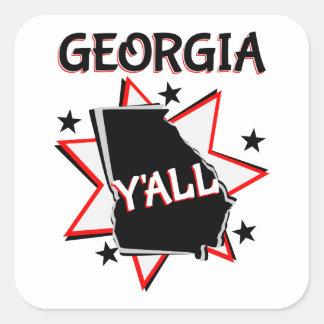 Orgulho do estado de Geórgia você Adesivo Quadrado