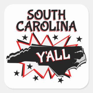 Orgulho do estado de South Carolina você Adesivo Quadrado