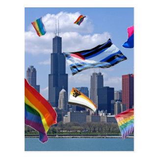 Orgulho do vôo sobre Chicago Cartão Postal
