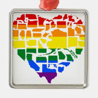 Orgulho gay em todos os 50 estados ornamento de metal