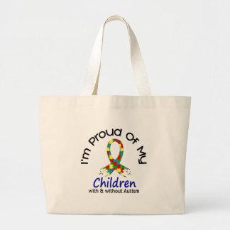 Orgulhoso de minhas crianças com & sem autismo bolsas de lona