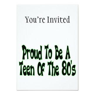 Orgulhoso para ser anos 80 adolescente convite 12.7 x 17.78cm