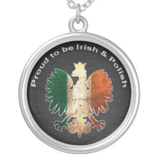 Orgulhoso ser irlandês & polonês colar banhado a prata