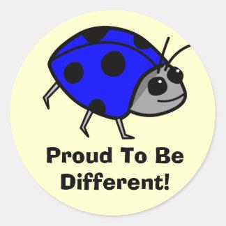 Orgulhoso ser joaninha azul diferente adesivo
