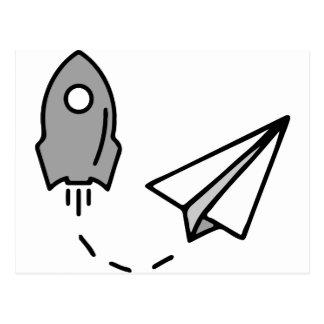 origami Rocket e avião de papel Cartão Postal