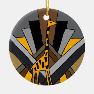 Original artístico Funky do girafa do art deco Ornamento De Cerâmica