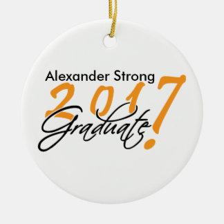 Ornamento 2017 preto e da laranja da graduação