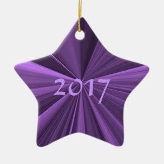 Ornamento 2017 roxo da estrela do Natal por Janz