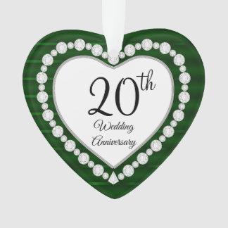Ornamento 20o Design esmeralda da lembrança do aniversário