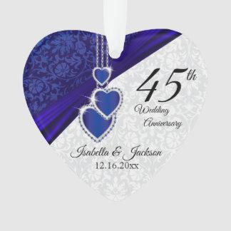 Ornamento 45th Lembrança 3 do aniversário de casamento da